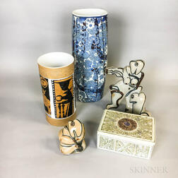 Five Mid-Century Pottery Items
