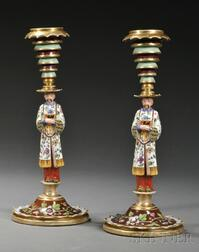 Pair of Jacob Petit-style Hand-painted Porcelain Candlesticks