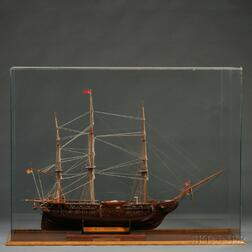 "Cased Wooden Model of the Frigate U.S.S. Constitution  , ""Old Ironsides,"""