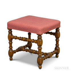 Queen Anne-style Turned Maple Upholstered Footstool