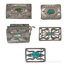 Three Navajo Silver and Turquoise Ketoh and Two Buckles