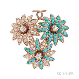 Antique 14kt Gold, Turquoise, and Split Pearl Flower Brooch