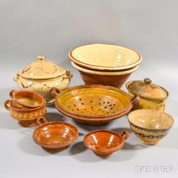 Ten Pieces of Glazed Pottery
