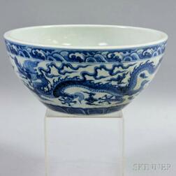 Large Blue and White Dragon Bowl