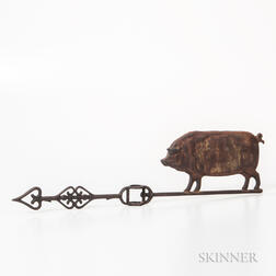Copper and Iron Pig Lightning Rod Weathervane