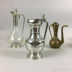 Two Metal and Glass Vessels