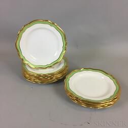 Set of Twelve Copeland Spode Gilt-rimmed Porcelain Dinner Plates
