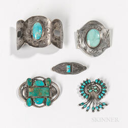 Four Navajo Silver and Turquoise Pins and Barrette