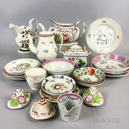 Approximately Twenty-nine Pieces of Rose-decorated Pearlware Tableware.     Estimate $200-300