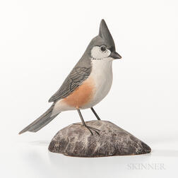 Jess Blackstone Carved and Painted Miniature Tufted Titmouse