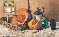 Richard Hayley Lever (American, 1876-1958)      Still Life with Pumpkin and Bottle
