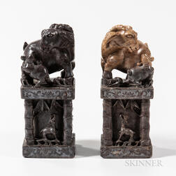 Pair of Carved Soapstone Chops