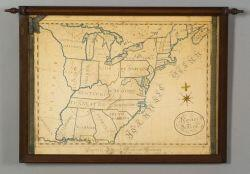 American School, 19th Century  Pembroke Academy Schoolgirl Map of the United States.
