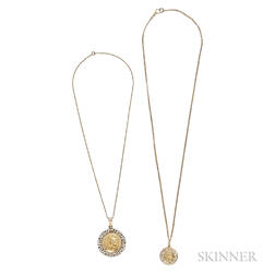 Two 14kt Gold Pendants