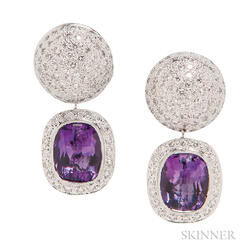 18kt Gold, Amethyst, and Diamond Earrings
