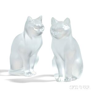 Pair of Lalique Frosted Glass Sitting Cats