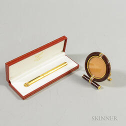 Cartier Enameled Brass Frame and Boxed Gold-washed Pen.