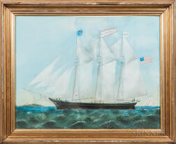 American School, Late 19th Century      Portrait of the Clipper Ship Aldana Rokes