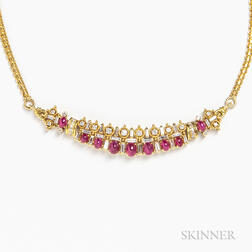18kt Gold, Diamond, and Ruby Cabochon Necklace