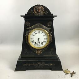 Egyptian Revival Bronze-mounted and Gilt-incised Slate Mantel Clock