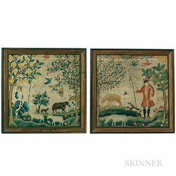 Pair of Shepherd and Shepherdess Needlework Pictures