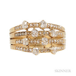 14kt Gold and Diamond Harem Ring
