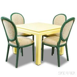 Yellow-painted Table and Four Green-painted Ropetwist Chairs.     Estimate $300-500