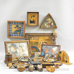Approximately Twenty-five Pieces of Quimper and Pyrographic Desk Items.