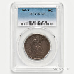 1860-S Seated Liberty Half Dollar, PCGS XF40.     Estimate $100-200