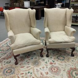 Two Chippendale-style Upholstered Mahogany Wing Chairs