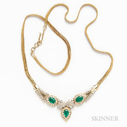 14kt Gold, Diamond, and Emerald Necklace
