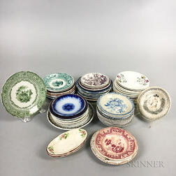 Approximately Fifty-two Staffordshire Transfer-decorated Cup Plates.     Estimate $150-250