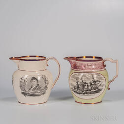 Two Pink Lustre Decorated Commemorative Jugs