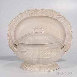 Staffordshire White Salt-glazed Stoneware Tureen, Cover, and Platter