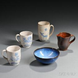 Five Pieces of Edwin and Mary Sheier Pottery