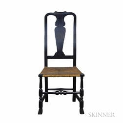 Queen Anne Black-painted Rush Seat Side Chair