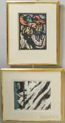 Two Framed Prints:      Miron Sima (Russian, 1902-1999), Jews in the Synagogue