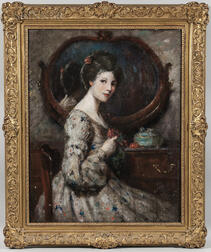 American School, 19th/20th Century      Portrait of a Young Woman Seated at a Dressing Table