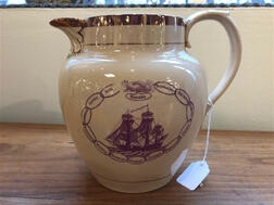 Pink Lustre Decorated Commemorative 1812 Heroes Jug
