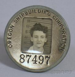 WWII Oregon Shipbuilding Corp. Metal Identification and Photograph Badge.