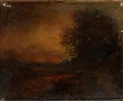 George Inness (American, 1825-1894)      Sunset