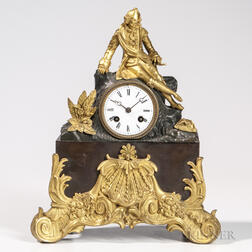 Gilded and Patinated Bronze Japy Freres Mantel Clock