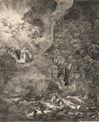 Rembrandt van Rijn (Dutch, 1606-1669)      The Angel Appearing to the Shepherds