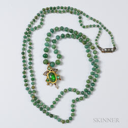 Emerald and Crystal Bead Necklace