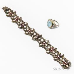 14kt Gold, Enamel, and Opal Ring and an Austro-Hungarian Gem-set and Baroque Pearl Bracelet