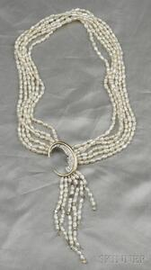 "14kt Gold, Sterling Silver, Fresh Water Pearl, and Diamond ""Nocturne"" Necklace/Brooc"