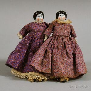 Two Small China Shoulder Head Dolls