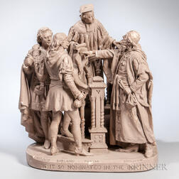 John Rogers Plaster Sculpture Representing a Moment in The Merchant of Venice