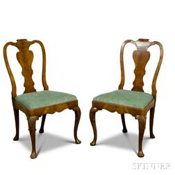 Pair of Queen Anne-style Carved Mahogany Side Chairs