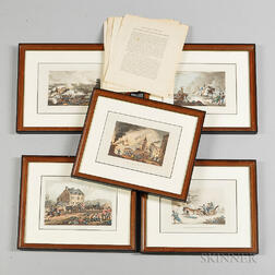 Five Framed Prints from James Jenkin's The Martial Achievements of Great Britain and Her Allies from 1799 to 1815